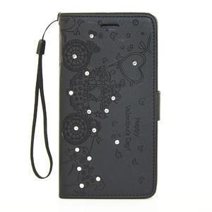 Loves PU kožené pouzdro s kamínky na Huawei P9 Lite - černé - 1