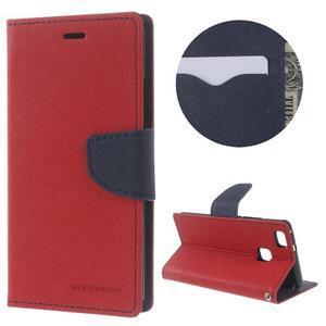 Diary PU kožené pouzdro na telefon Huawei P9 Lite - červené - 1
