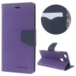 Diary PU kožené pouzdro na telefon Huawei P9 Lite - fialové - 1