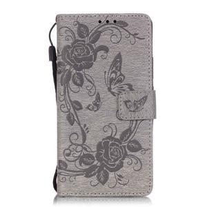 Květinoví motýlci peněženkové pouzdro na Huawei P9 Lite - šedé - 1