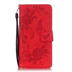 Květinoví motýlci peněženkové pouzdro na Huawei P9 Lite - červené - 1