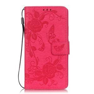 Květinoví motýlci peněženkové pouzdro na Huawei P9 Lite - rose - 1