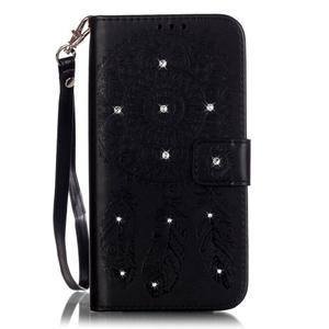 Dream PU kožené pouzdro s kamínky na Huawei P9 Lite - černé - 1