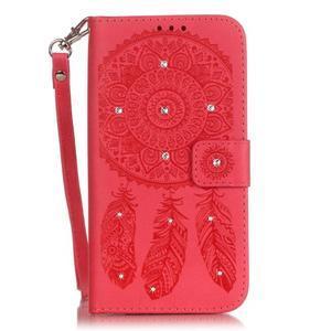 Dream PU kožené pouzdro s kamínky na Huawei P9 Lite - červené - 1