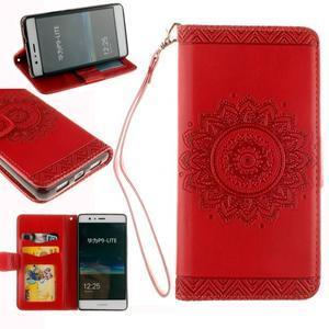 Mandala PU kožené pouzdro na Huawei P9 Lite - červené - 1