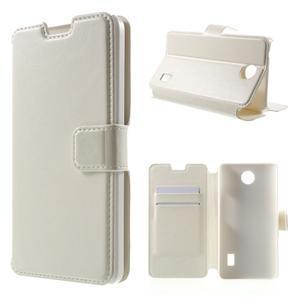 Bílé PU kožené pouzdro na Huawei Y635 - 1