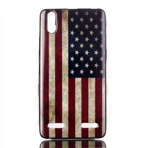 Jelly gelový obal na mobil Lenovo A6000 - US vlajka - 1