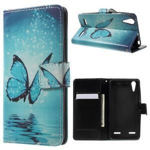 Emotive peněženkové pouzdro na mobil Lenovo A6000 - modrý motýl - 1