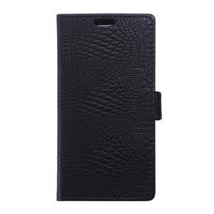 Croco PU kožené pouzdro na mobil Lenovo Vibe S1 - černé - 1