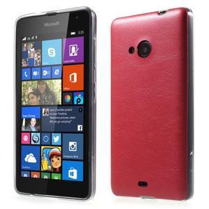 Ultra tenký kryt s jemnými koženkovými zády Microsoft Lumia 535 - červené - 1