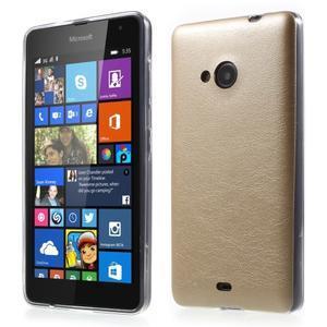 Ultra tenký kryt s jemnými koženkovými zády Microsoft Lumia 535 - champagne - 1
