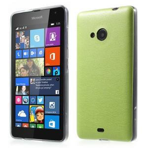 Ultra tenký kryt s jemnými koženkovými zády Microsoft Lumia 535 - zelený - 1