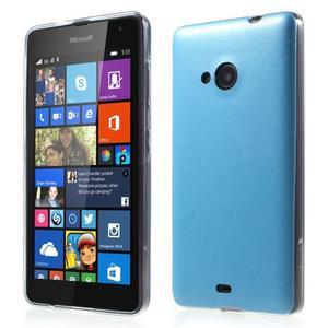 Ultra tenký kryt s jemnými koženkovými zády Microsoft Lumia 535 - modrý - 1