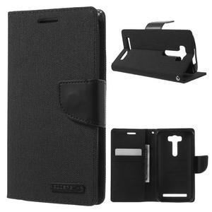 Canvas textilní/PU kožené pouzdro na Asus Zenfone 2 Laser - černé - 1