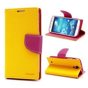 Fancy peněženkové pouzdro na Samsung Galaxy S4 - žluté - 1