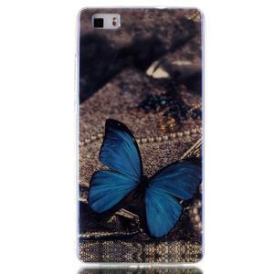 Blu-ray magic gelový obal na Huawei Ascend P8 Lite - modrý motýl - 1