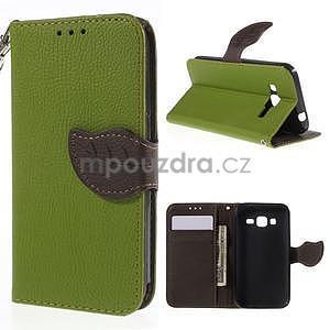 Zelené/hnědé peněženkové pouzdro na Samsung Galaxy Core Prime - 1