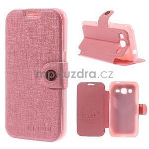 Zapínací peněženkové pouzdro na Samsung Galaxy Core Prime - růžové - 1