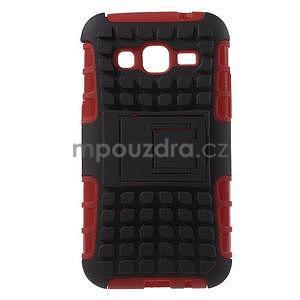 Extrémně odolný obal se stojánkem na Samsung Galaxy Core Prime - červený - 1