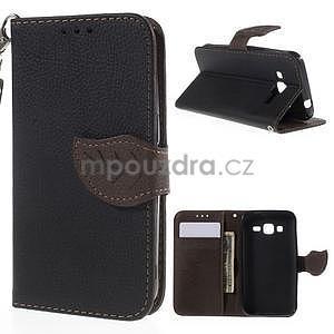 Černé/hnědé peněženkové pouzdro na Samsung Galaxy Core Prime - 1