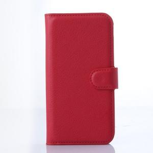 PU kožené peněženkové pouzdro na Samsung Galaxy E5 - červené - 1