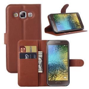 PU kožené peněženkové pouzdro na Samsung Galaxy E5 - hnědé - 1