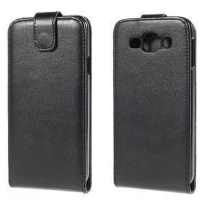 PU kožené flipové pouzdro Samsung Galaxy E5 - černé - 1