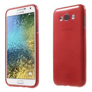 Broušený gelový obal pro Samsung Galaxy E7 - červený - 1