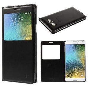PU kožené pěněženkové pouzdro s okýnkem Samsung Galaxy E5 - černé - 1