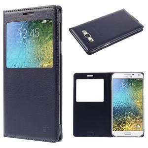 PU kožené pěněženkové pouzdro s okýnkem Samsung Galaxy E5 - tmavě modré - 1