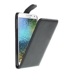 Černé flipové PU kožené pouzdro na Samsung Galaxy E7 - 1