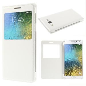 PU kožené pěněženkové pouzdro s okýnkem Samsung Galaxy E5 - bílé - 1