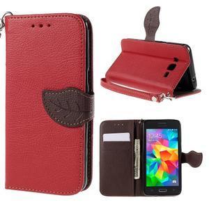 Červené/hnědé zapínací peněženkové pouzdro na Samsung Galaxy Grand Prime - 1