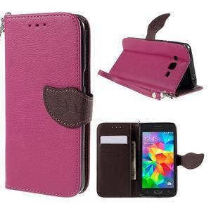 Rose/hnědé zapínací peněženkové pouzdro na Samsung Galaxy Grand Prime - 1