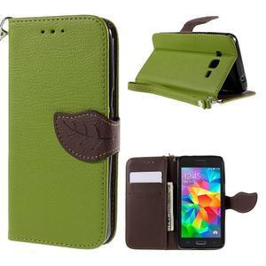 Zelené/hnědé zapínací peněženkové pouzdro na Samsung Galaxy Grand Prime - 1