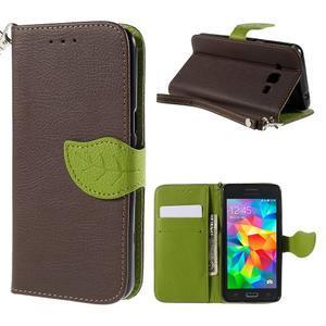 Hnědé/zelené zapínací peněženkové pouzdro na Samsung Galaxy Grand Prime - 1