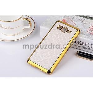 Luxusní kryt se zlatým lemem na Samsung Grand Prime - bílý - 1