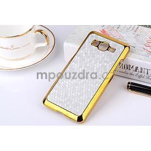 Luxusní kryt se zlatým lemem na Samsung Grand Prime - stříbrný - 1