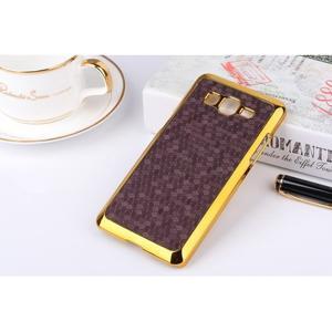 Luxusní kryt se zlatým lemem na Samsung Grand Prime - fialový - 1
