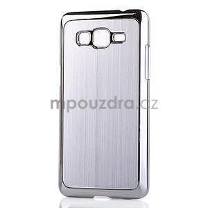 Obal s hliníkovými zády na Samsung Galaxy Grand Prime - stříbrný
