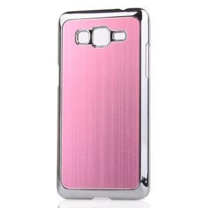 Obal s hliníkovými zády na Samsung Galaxy Grand Prime - růžový