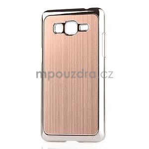 Obal s hliníkovými zády na Samsung Galaxy Grand Prime - zlatý