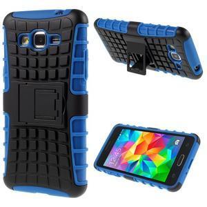 Vysoce odolný kryt se stojánkem na Samsung Galaxy Grand Prime - modrý - 1