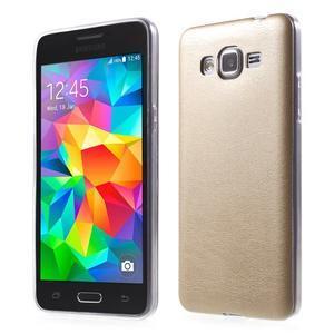 Ultratenký gelový kryt s imitací kůže na Samsung Grand Prime - zlatý - 1