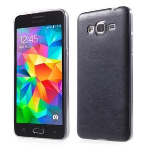 Ultratenký gelový kryt s imitací kůže na Samsung Grand Prime - tmavě modrý - 1