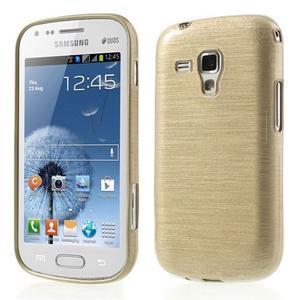 Broušený gelový kryt na Samsung Galaxy S Duos - zlatý - 1