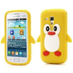 Silikonový obal tučňák na Samsung Galaxy S Duos - žlutý - 1