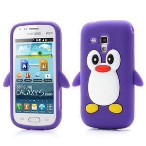 Silikonový obal tučňák na Samsung Galaxy S Duos - fialový - 1