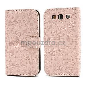 Peněženkové pouzdro na Samsung Galaxy S3 - růžové - 1