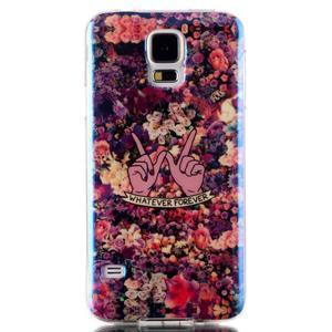Blu-ray gelový obal s odlesky na Samsung Galaxy S5 - květiny - 1